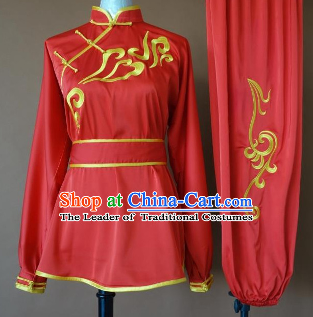 Top Tai Chi Taiji Kung Fu Gongfu Martial Arts Competition Uniforms Dresses Suits Outfits for Adults
