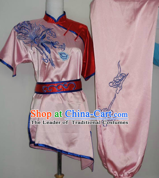Top Embroidered Phoenix Tai Chi Taiji Kung Fu Gongfu Martial Arts Wu Shu Wushu Championship Competition Uniforms for Adults and Kids