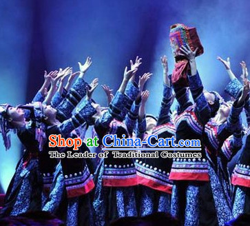 Chinese Folk Ethnic Dance Costumes and Headpieces for Women