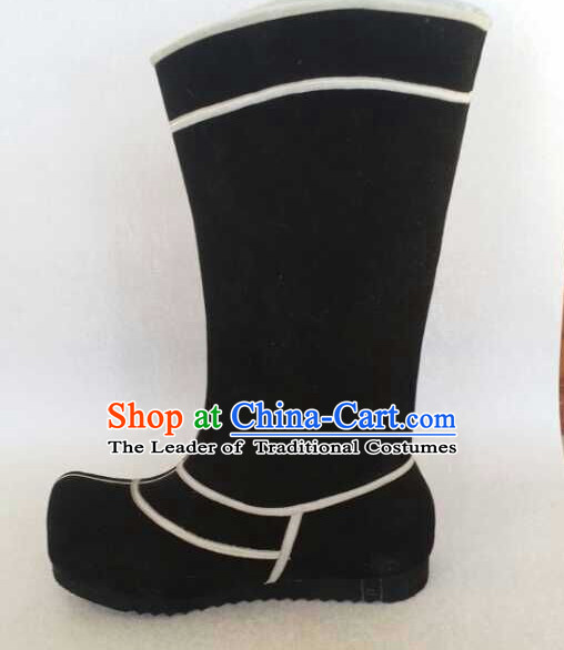 Traditional Chinese Ancient Black Boots for Men