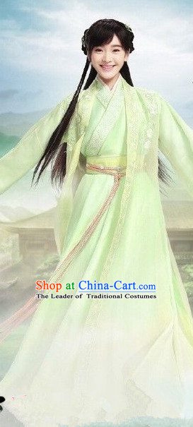 Ancient Chinese Fairy Costumes and Hair Jewelry Complete Set for Women Girls