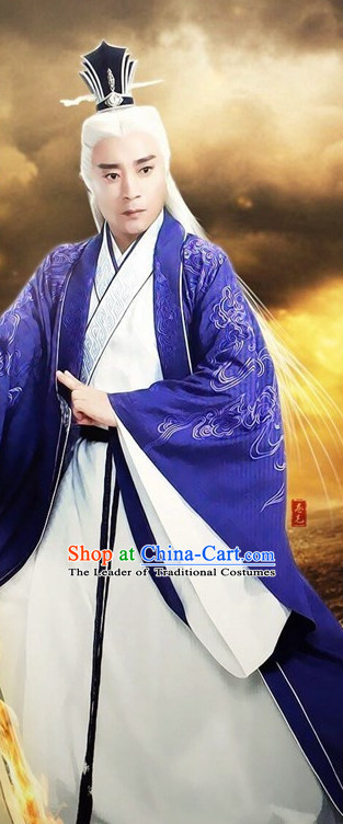 Ancient Chinese Taoist Costumes and Hair Jewelry Complete Set for Men