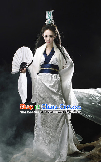 Ancient Chinese Knight Costumes and Hair Jewelry Complete Set for Women Adults Kids Youth Children