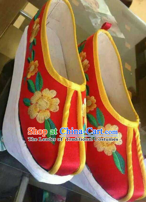 High Heel Handmade Ancient Traditional Chinese Embroidered Lotus Shoes China Shoes for Women Girls