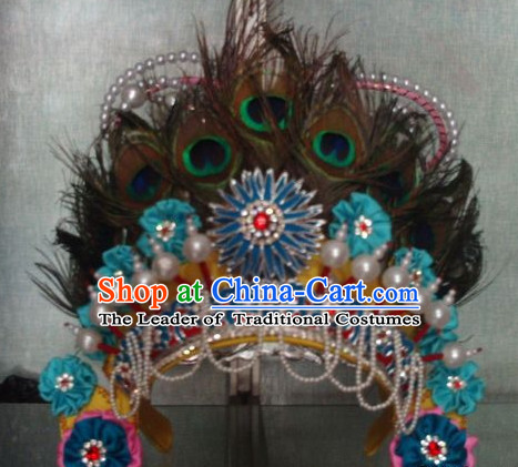 Handmade Ancient Traditional Chinese Peacock Prince Hat Oriental Hats Asian Fashion
