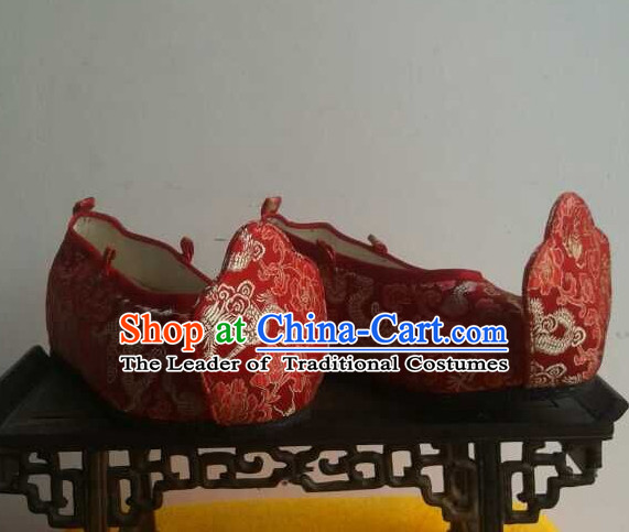 High Heel Handmade Ancient Traditional Chinese Male Emperor Wedding Handmade and Embroidered Hanfu Lotus Shoes China Shoes for Men or Boys