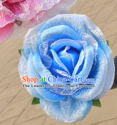 0.35 Meter Blue Rose Flower Decoration Props Dance Prop