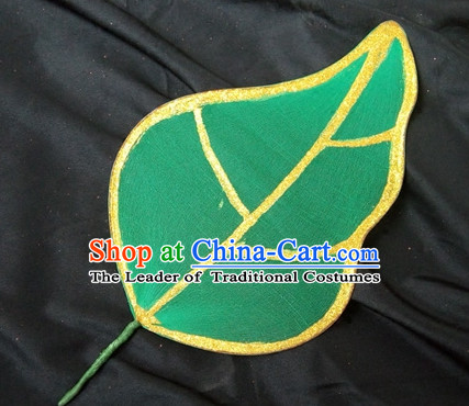 0.6 Meter Green Leaf Decorations Fan Dance Props Props for Dance Dancing Props for Sale for Kids Dance Stage Props Dance Cane Props Umbrella Children Adults