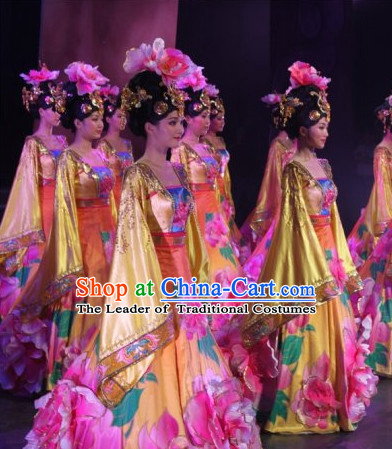 Ancient Chinese Classical Imperial Dance Costumes and Headdress Complete Set for Women or Girls