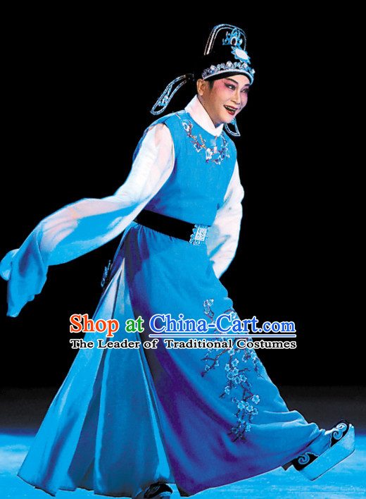 Chinese Ancient Peking Opera Xiao Sheng Costumes and Headdress Complete Set for Men