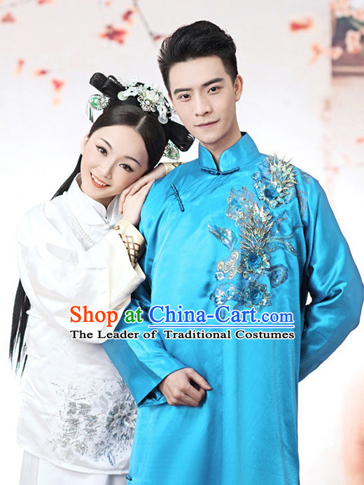 Chinese Mandarin Blue Long Minguo Time Robe Complete Set for Men