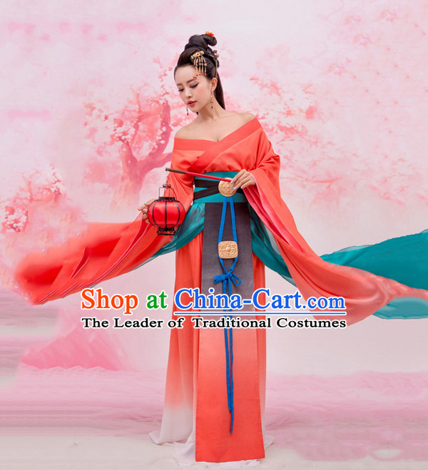 Chinese Ancient Beauty Costumes and Hair Jewelry Complete Set for Women