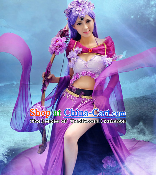 Chinese Ancient Purple Fairy Cosplay Costume and Headdress Complete Set for Women