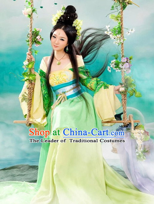 Chinese Ancient Spring Hanfu Dresses and Headdress Complete Set for Women