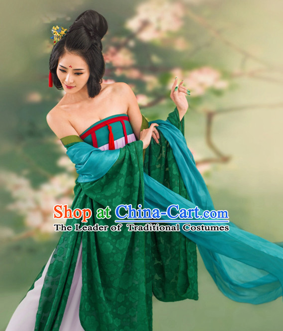 Chinese Ancient Tang Dynasty Costumes and Hair Jewelry Complete Set for Women
