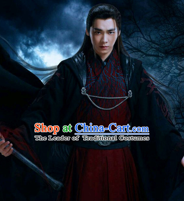 Chinese Ancient Swordsman Costumes Complete Set for Men