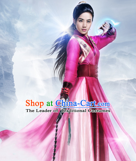 Chinese Ancient Swordswoman Costumes Complete Set for Women