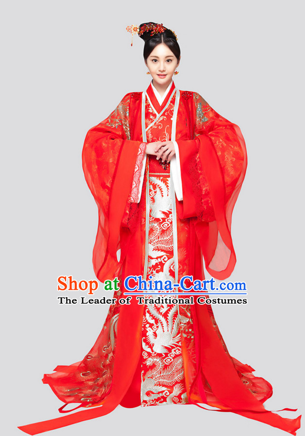 Chinese Ancient Bridal Wedding Dresses and Hair Jewelry Complete Set for Women