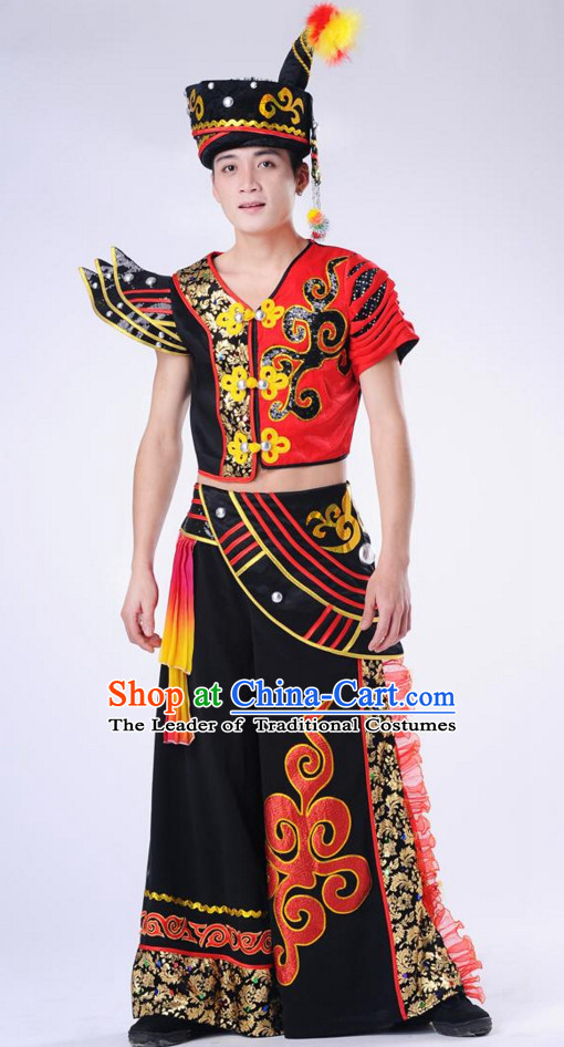 Chinese Traditional Ethnic Group Dancing Costumes and Headdress Complete Set for Men