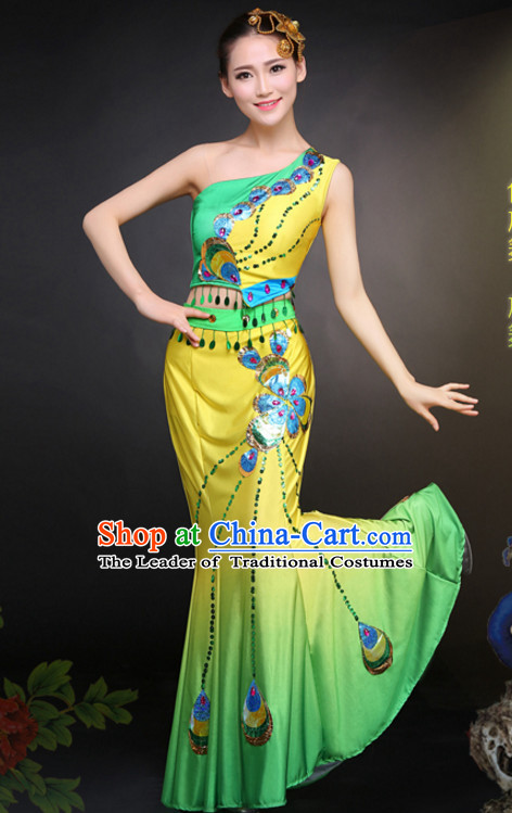 Chinese Peacock Dance Costumes Dress online for Sale Complete Set for Women Girls Adults Youth Kids