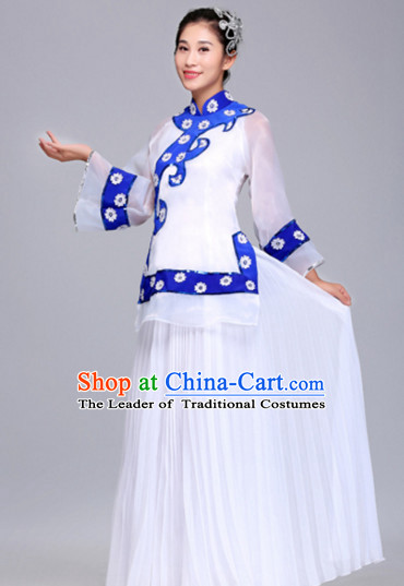 Chinese Folk Group Fan Dance Costumes Dress online for Sale Complete Set for Women Girls Adults Youth Kids