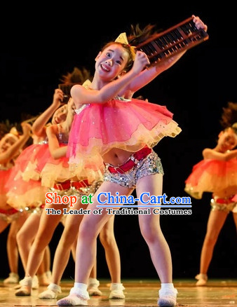Chinese Traditional Festival Group Dancing Costumes for Kids