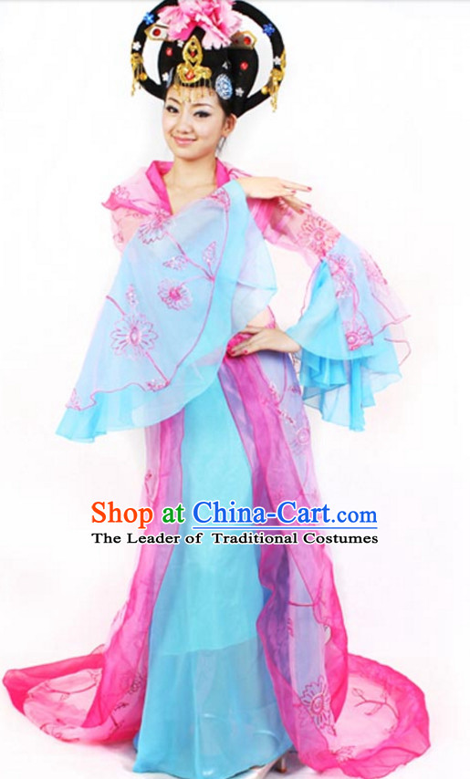 Chinese Classicial Dance Costumes Dancewear and Headpieces Complete Set for Women