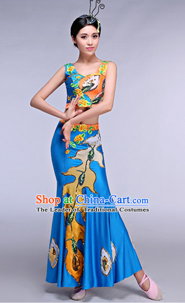 Chinese Peacock Dance Costumes Dancewear and Headpieces Complete Set for Women