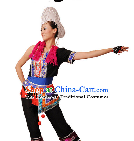 Chinese Traditional Classical Dance Costumes Dancewear and Headpieces Complete Set for Women