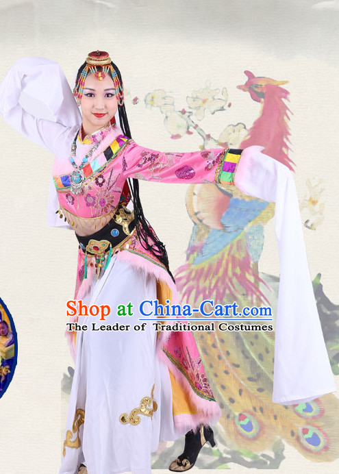 Chinese Traditional Classical Ethnic Tibetan Dance Costumes Dancewear and Headpieces Complete Set for Women