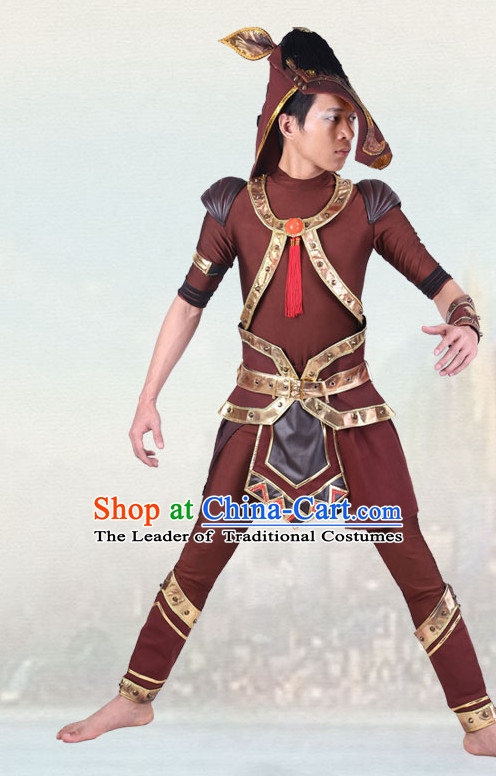 Chinese Traditional Animal Horse Dance Costumes Dancewear and Headpieces Complete Set for Men