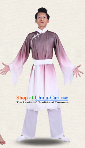 Chinese Traditional Classical Dance Costumes Dancewear and Headpieces Complete Set for Men