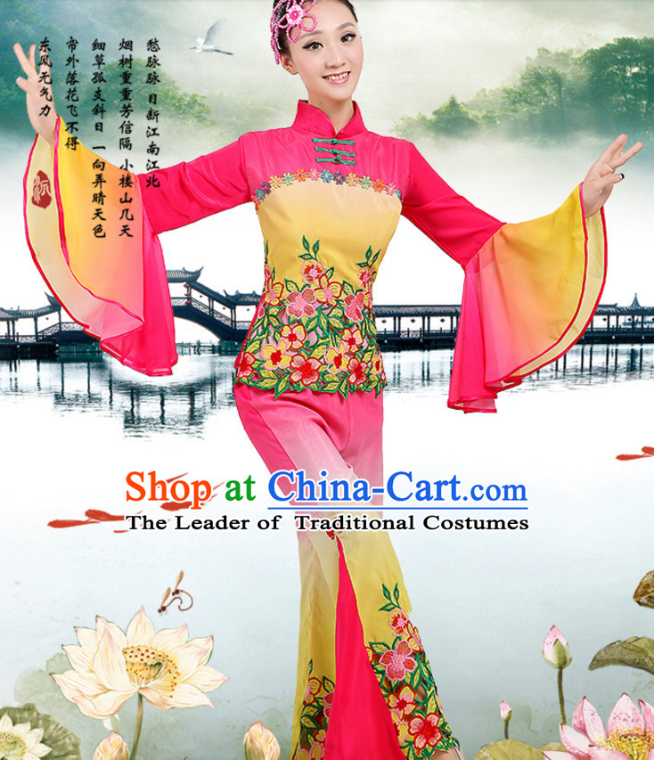 Chinese Traditional Fan Team Dancing Costumes Dancewear and Headpieces Complete Set for Women