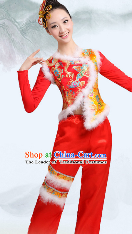 Chinese Traditional Team Fan Dancing Costumes Dancewear and Headpieces Complete Set for Women