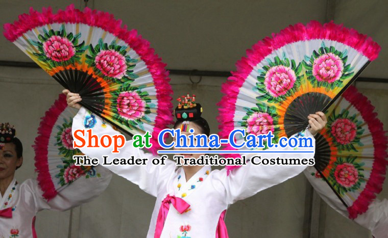 Traditional Korean Dance Feather Peony Fan
