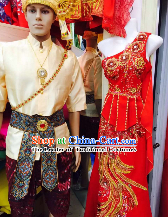 Top Traditional National Thai Garment Dress Thai Traditional Dress Dresses Wedding Dress Complete Set for Couple