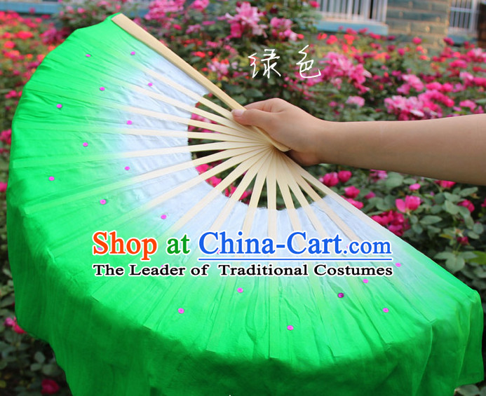 White to Green Color Transition Traditional Chinese Pure Silk Dance Fan