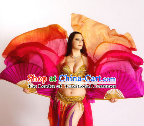 1.5 Meters Color Transition Traditional Chinese Pure Silk Dance Fan