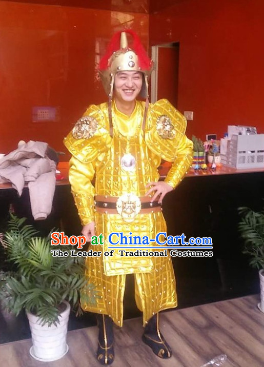 Ancient Chinese General Costumes and Hat Complete Set for Men