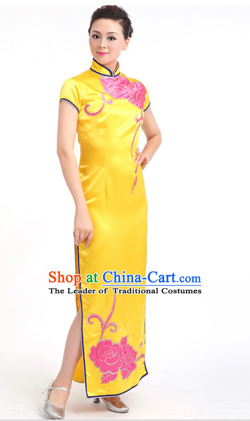 Traditional Chinese Dance Cheongsam Costumes Custom Dance Costume Folk Dance Chinese Dress Cultural Dances and Headdress Complete Set