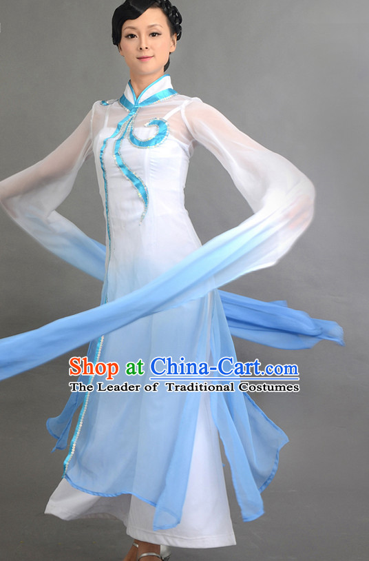 Traditional Chinese Long Sleeve Dance Costumes Custom Dance Costume Folk Dancing Chinese Dress Cultural Dances and Headdress Complete Set