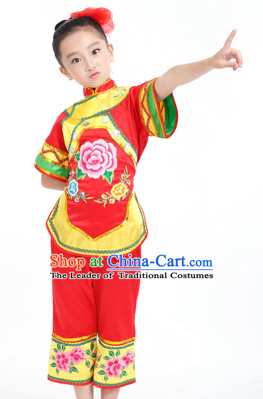 Traditional Chinese Ethnic Han Dance Costumes Custom Dance Costume Folk Dancing Chinese Dress Cultural Dances and Headdress Complete Set for Girls Kids Children