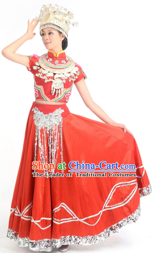 Traditional Chinese Ethnic Miao Dance Costumes Custom Dance Costume Folk Dancing Chinese Dress Cultural Dances and Headdress Complete Set