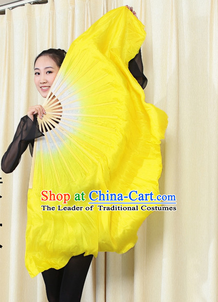 Professional Traditional Two Colors White to Yellow Color Transition Pure Silk Dance Fan Dance Ribbons