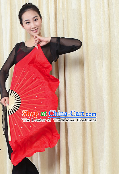 Traditional Chinese Red Pure Silk Dance Fan with Sequins