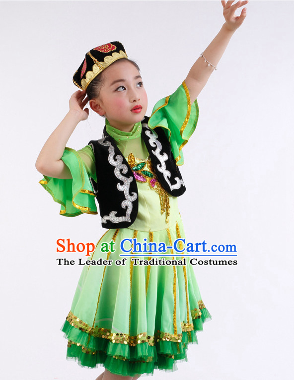 Chinese Competition Xinjiang Dance Costumes Kids Dance Costumes Folk Dances Ethnic Dance Fan Dance Dancing Dancewear for Children