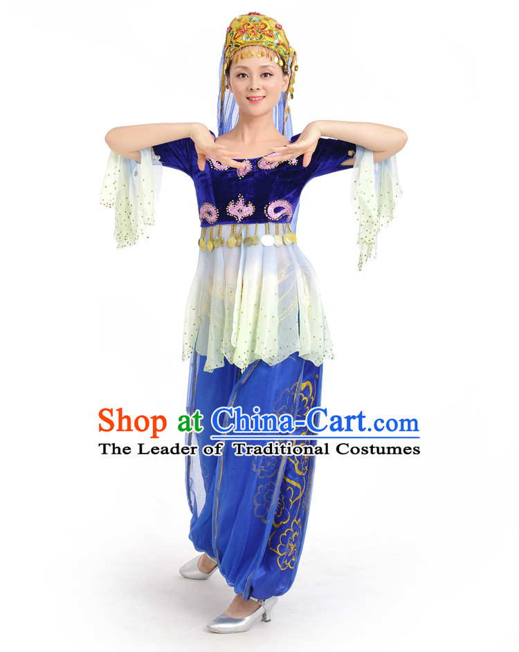 Chinese Competition Stage Xinjiang Dance Costumes Female Dance Costumes Folk Dances Ethnic Dance Fan Dance Dancing Dancewear for Women