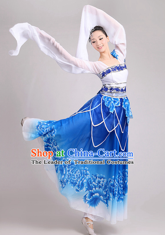 Traditional Chinese Long Sleeve Dancewear Costumes Dancer Costumes Girls Dance Lyrical Dance Costume Ballroom Comtemporary Recital Dancewear Costume