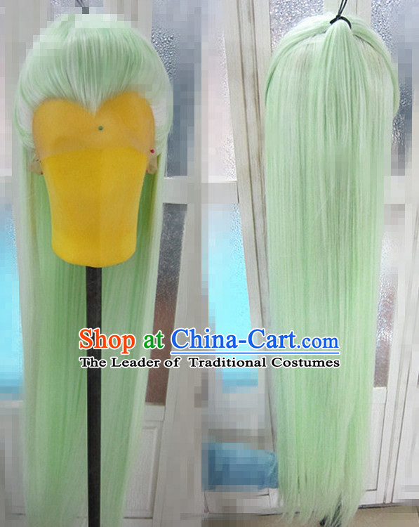 Chinese Traditional Wig Ancient Men Wigs Ladies Wigs Light Green Wigs Male Lace Front Wigs Custom Hair Pieces