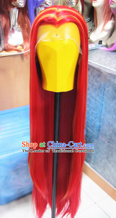 Chinese Traditional Swordsmen Wig Ancient Men Wigs Ladies Wigs Red Wigs Male Lace Front Wigs Custom Hair Pieces